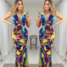 2017 New arrive high fashion print dresses v-neck sexy