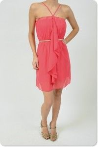 Coral Chiffon Dress $72
