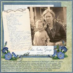 Edna Newton Grange...cool blues and greens highlight a well-loved vintage family recipe and photo page. If you are blessed with multiple loved recipes and photos, bind them into a vintage family cook book highlighting all of your family favorites with meal prep instructions for a treasured family keepsake.