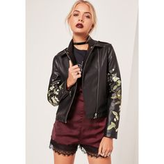 Missguided Faux Leather Embroidered Biker Jacket  ($85) ❤ liked on Polyvore featuring outerwear, jackets, black, motorcycle jacket, vegan motorcycle jacket, vegan biker jacket, synthetic leather jacket and faux leather moto jacket