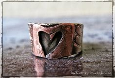 Mixed metal jewelry German silver ring Copper ring Heart ring Hammered ring on Etsy, $31.89