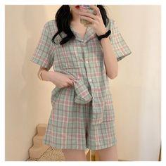 Pajama Outfits, Kpop Outfits, Korean Outfits, Fashion Outfits, Plaid Pajamas, Cute Pajamas, Girls Pajamas, Sleepwear Sets, Sleepwear Women