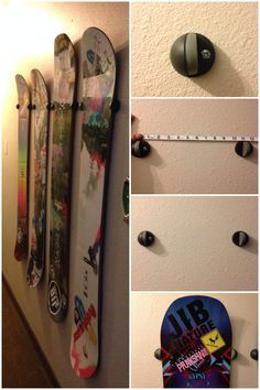 """Use door stops to mount your snowboard on a wall. 1. Make sure to buy the floor mount style stopper. You'll need two per board. 2. Measure the waist and nose width of your boards and note where the average is. Most boards noses are larger than 11"""" while their waists are narrower. 3. Drill holes that are level for each stopper and mount to wall with hardware. Mounting or dismounting a board is as easy as sliding it up or down"""