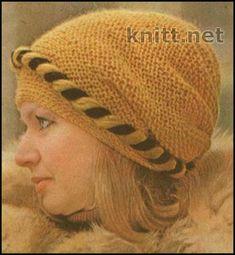 Шапочка чалма. связана спицами. Эту шапочку можно носить любой стороной к лицу. Шапочка-чалма выполнена спицами платочной вязкой.