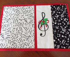 Music Quilted Mug Rug/ Music QuiltedCandle by homesewnbychristine