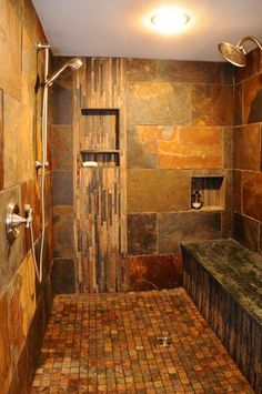 Custom Walk-In Slate Tile Shower. Peacock slate, Need to seal the shower there're a little bit of maintenance But very nice for the outdoor/cabin look.