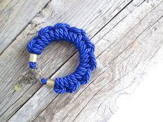 Bracelet Cordage bleu royal