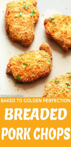 Breaded Pork Chops - Immaculate Bites Breaded Pork Chops - juicy boneless pork chops coated with buttered and seasoned breadcrumb mixture and baked to golden perfection. This might be your new go-to dinner option. Easy, satisfying and they're baked! Breaded Pork Chops Oven, Fried Boneless Pork Chops, Baked Pork Loin Chops, Empanadas, Pork Chops Bread Crumbs, Pork Chop Dinner, Chops Recipe, Pork Chop Recipes, Vegan