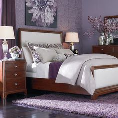 Attractive Storage Ideas for Modern Bedrooms : Purple Carpet Under White Bed Beside Wooden Storage In Purple Bedroom