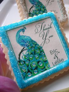 Peacock Personalized Wedding Favor Shower Cookie #timelesstreasure.theaspenshops.com/product/amazing-bridal-shower-wedding-cookies.html