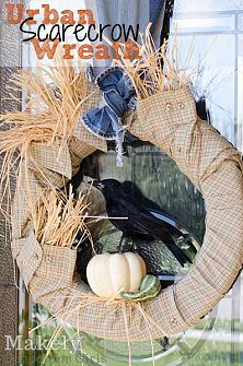 Fall Wreaths That Inspire... :: Bonnie & Trish {Uncommon Designs}'s clipboard on Hometalk :: Hometalk, Urban Scarecrow Wreath