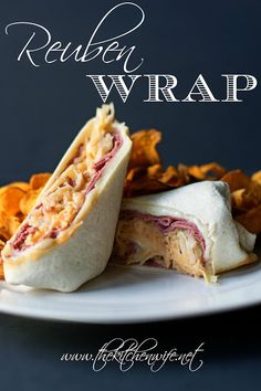 A simple recipe for an easy weeknight meal of Reuben Wraps.  www.thekitchenwife.net