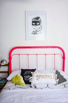 eclectic kids' rooms - charlie would love the batman print if it were a photo/sketch of him with the mask on!!