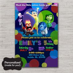 Inside Out invite,Inside Out Birthday invitation,JPG file,Birthday Invite,Inside Out invitation,Inside Out,Joy,Sadness,Anger,DPP166