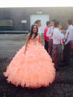 Coral Quinceañera Dress
