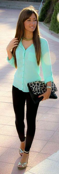 #spring #fashion | Green Shirt + Black Denim