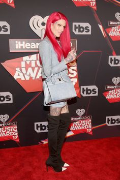 Singer-songwriter Jeffree Star attends the 2017 iHeartRadio Music Awards which broadcast live on Turner's TBS, TNT, and truTV at The Forum on March 2017 in Inglewood, California. (Photo by Jesse Grant/Getty Images for iHeartMedia) Music Awards 2017, Inglewood California, Artists And Models, Youtube Stars, Jeffree Star, Androgynous, Your Hair, Red Carpet, Singer