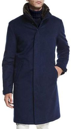 Loro Piana Men's Icer Cashmere Coat with Fur-Trimmed Collar, Blue