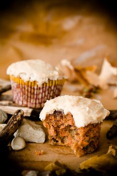 #paleo Carrot Cupcakes: 1-1/2 cups blanched almond flour; 1 teaspoon sea salt; 1/2 teaspoon baking soda; 1 teaspoon cinnamon; 1/2 teaspoon nutmeg; 1/4 teaspoon cardamom; 3 eggs; 1/4 cup maple syrup; 2 tablespoons almond oil or grapeseed oil; 1-1/2 cups carrots; 1/2 cup dried or pureed dates; 1 cup coarsely chopped pecans | Frosting: 1/2 cup coconut oil;   1/4 cup + 2 tablespoons maple syrup