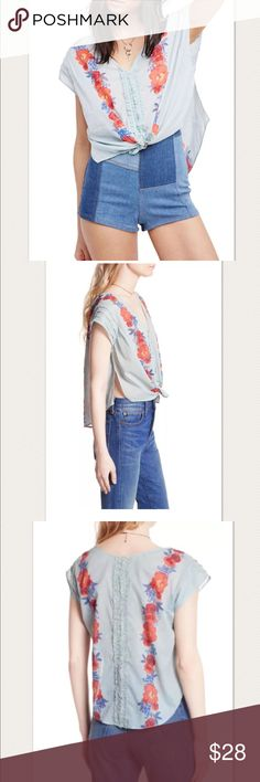 "Free People Gardenia Top Floral Print ~Size S~ Free People Gardenia Top Floral Print ~Size S~  New without tags.   Pretty! Lightweight, soft Button front Floral print Light blue shade  Size S  Measures approximately: front length 21"", back length 23"" bust across 21.5""  High end department store shelf pull- new without tags. May have had customer contact Wrinkled from being stored.   PRICED TO SELL FAST! PLEASE ASK ANY QUESTIONS BEFORE PURCHASE, THANKS CHECK OUT MY OTHER DESIGNER HANDBAGS AND…"