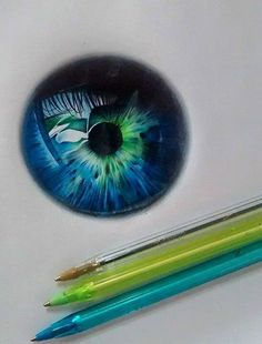 Awesome eye ball drawn with these 3 pens