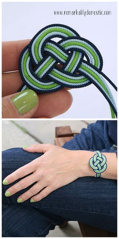 DIY Infinity Cord Bracelet Tutorial from Remarkably Domestic here. You see lots of craft fail photos of DIY knots because they do take patience especially when you are creating one out of 5 strands. For more knot jewelry and knot DIYs (gorgeous Anthropoligie knockoff necklace here and a loose celtic knot necklace here) go here: truebluemeandyou.tumblr.com/tagged/knots