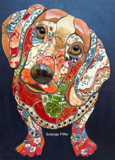 Mosaic Dachshund by Solange Piffer. Mosaic Tile Art, Mosaic Crafts, Mosaics, Dog Quilts, Animal Quilts, Dachshund Art, Daschund, Mosaic Animals, Mosaic Madness