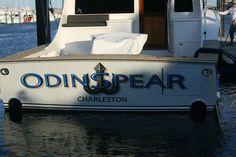 #TRANSOM: Odin Spear, Charleston #Boat #Transom #BoatTransom  TRANSOM #TECHNIQUE: #CustomGraphics    #BOAT #BUILDER #BoatBuilder: #DeanJohnson, #North Carolina