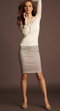 Ann Taylor cream colored business casual look