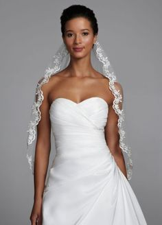 Mid-Length Veil with Metallic Lace Edging V22321
