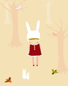 ONCE UPON A TIME - drawing children art print fairy tale forest bunny girl cute - studio mela