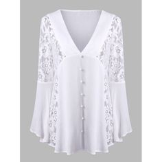 Lace Insert Flare Sleeve Crinkle Blouse - White ~ $20.75 at twinkledeals.com