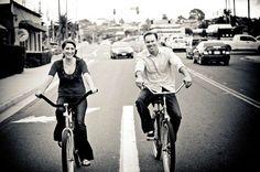 Couple riding bikes engagement shoot San Diego