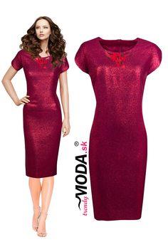 Originálne krátke puzdrové spoločenské šaty pre moletky s efektnou ručne šitou aplikáciou v trendy červenej farbe. Bodycon Dress, Trendy, Formal Dresses, Fashion, Dresses For Formal, Moda, Body Con, Formal Gowns, Fashion Styles