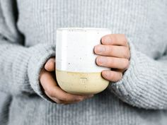 Minimalist mug for coffee, tea / / handmade Cup with white icing and small dots / / wine glass