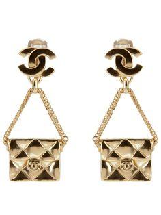 CHANEL VINTAGE handbag pendant earring