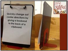 Glue a bookend to the back of a clipboard to display Center Directions! or CONTENT LANGUAGE OBJECTIVES Glue one on a whiteboard too. elementary art TAB Choice menu setting up the art room Classroom Organisation, Teacher Organization, Classroom Setup, Classroom Design, Art Classroom, School Classroom, Classroom Management, Future Classroom, Classroom Hacks