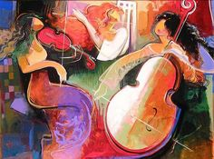 Irene Sheri Trio painting is available for sale; this Irene Sheri Trio art Painting is at a discount of off. Disney Fine Art, Cultural, Woman Painting, Art Music, American Artists, Irene, Les Oeuvres, Ukraine, Cello