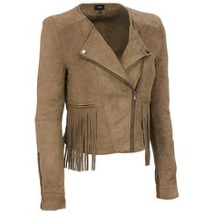 Fate Ultra FauxSuede Fringe Moto Jacket (215 AUD) ❤ liked on Polyvore featuring outerwear, jackets, brown fringe jacket, brown moto jacket, brown motorcycle jacket, fringe moto jacket and faux suede fringe jacket