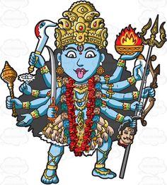 The Hindu Goddess Kali Indian Goddess Kali, Durga Goddess, Indian Gods, Hindu Tattoos, God Tattoos, Maa Kali Photo, Kali Tattoo, Durga Painting, Om Art