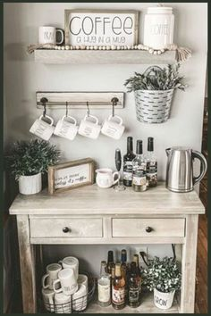 Home Coffee Stations! See pictures of home coffee station design ideas for your coffee nook or home coffee bar. These coffee station ideas are easy DIY farmhouse coffee bar design ideas for YOUR kitchen. Wall corner and countertop home coffee stations too Coffee Bars In Kitchen, Coffee Bar Home, Home Coffee Stations, Kitchen Small, Coffee Kitchen Decor, Coffee Bar Ideas, Wine And Coffee Bar, Coffee Bar Station, Coffee Station Kitchen