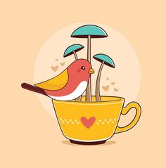 by Fernanda Sponchiado, via Flickr - #illustration #bird #tea #cup #mushroons #moobil