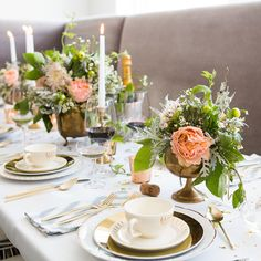 Gold Flatware + Safari Cotton Napkins from west elm in a Spring Table Setting by South Social & Home