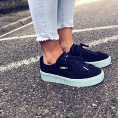 Mint and Navy creepers by Rihanna x Puma.