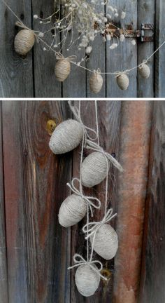 Rustic Easter egg garland. Perfect for egg hunt and spring decoration. I love the natural, simple look. #ad #easteregg #egggarland #easterdecor #springdecor #homedecor #egghunt #rusticdecor #holidaydecor #rusticegg