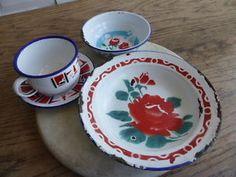 Vintage Enamelware Pretty Floral Dish Bowl CUP Saucer | eBay