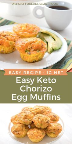 Egg muffins are a delicious and easy keto breakfast option and perfect for prepping ahead. Packed with chorizo, cheese, and green onion, this Mexican-inspired egg muffin recipe is a surefire hit. No Carb Recipes, Easy Healthy Recipes, Diet Recipes, Easy Meals, Cooking Recipes, Keto Egg Muffins, Keto Muffin Recipe, Breakfast Options, Low Carb Breakfast