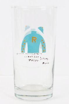 Set of (6) Hand-Painted Jockey Silks Highball Glasses