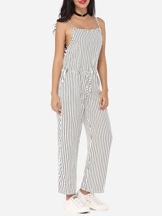 Product Name: Striped Loose Fitting Delightful Jumpsuits       Weight: 48(g)   Pants Length: Long