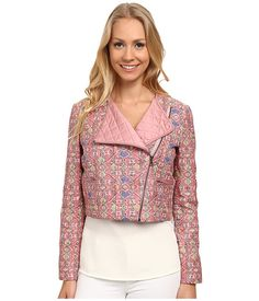 Anne Klein Anne Klein  Stitched Ikat Moto Jacket Petal Combo Womens Coat for 48.99 at Im in! #sale #fashion #I'mIn